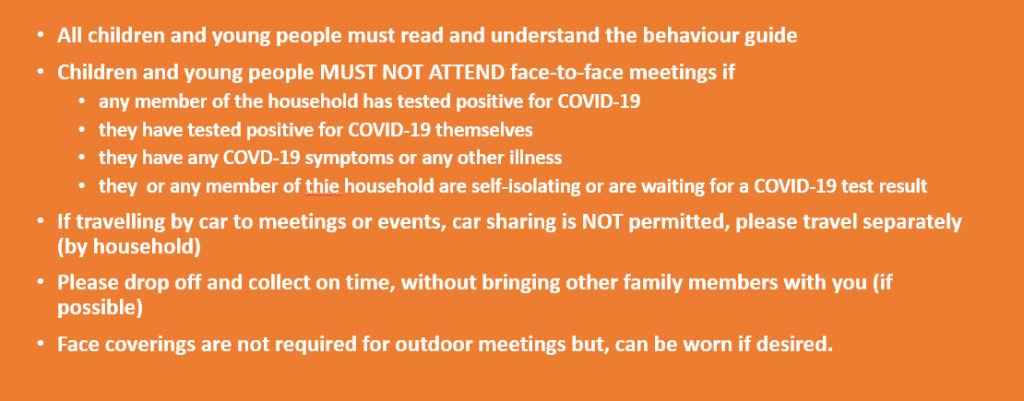 Rules for parent, children and young people while meeting face to face